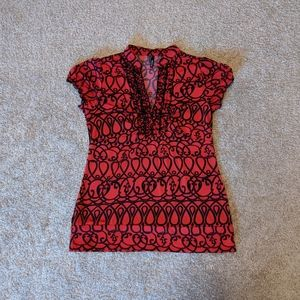 Maurices L Red and Black Professional Blouse